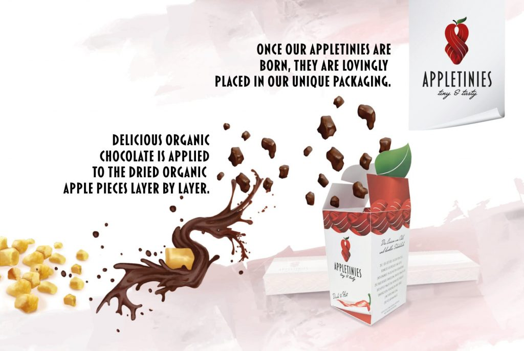 production Appletinies tiny & tasty: organic dried apples covered with organic chocolate